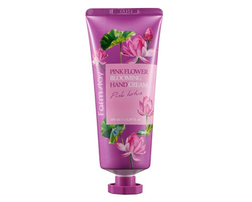Крем для рук с лотосом FARMSTAY PINK FLOWER BLOOMING HAND CREAM PINK LOTUS - 100 мл