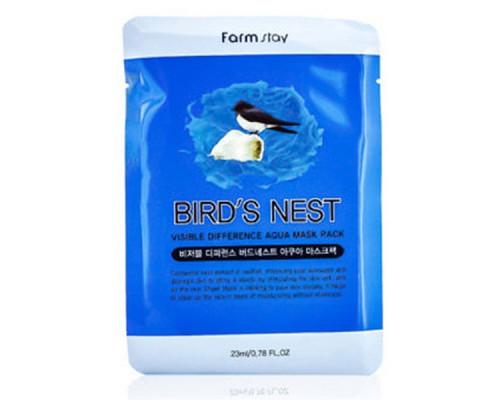 Тканевая маска с ласточкиным гнездом FARMSTAY VISIBLE DIFFERENCE BIRDS NEST AQUA MASK PACK - 23 мл
